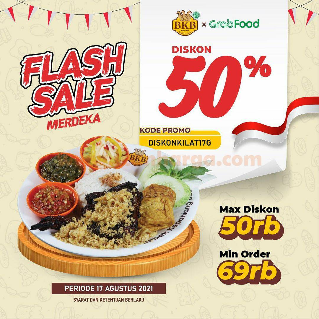 BEBEK BKB Promo Flash Sale MERDEKA Diskon 50% via GrabFood