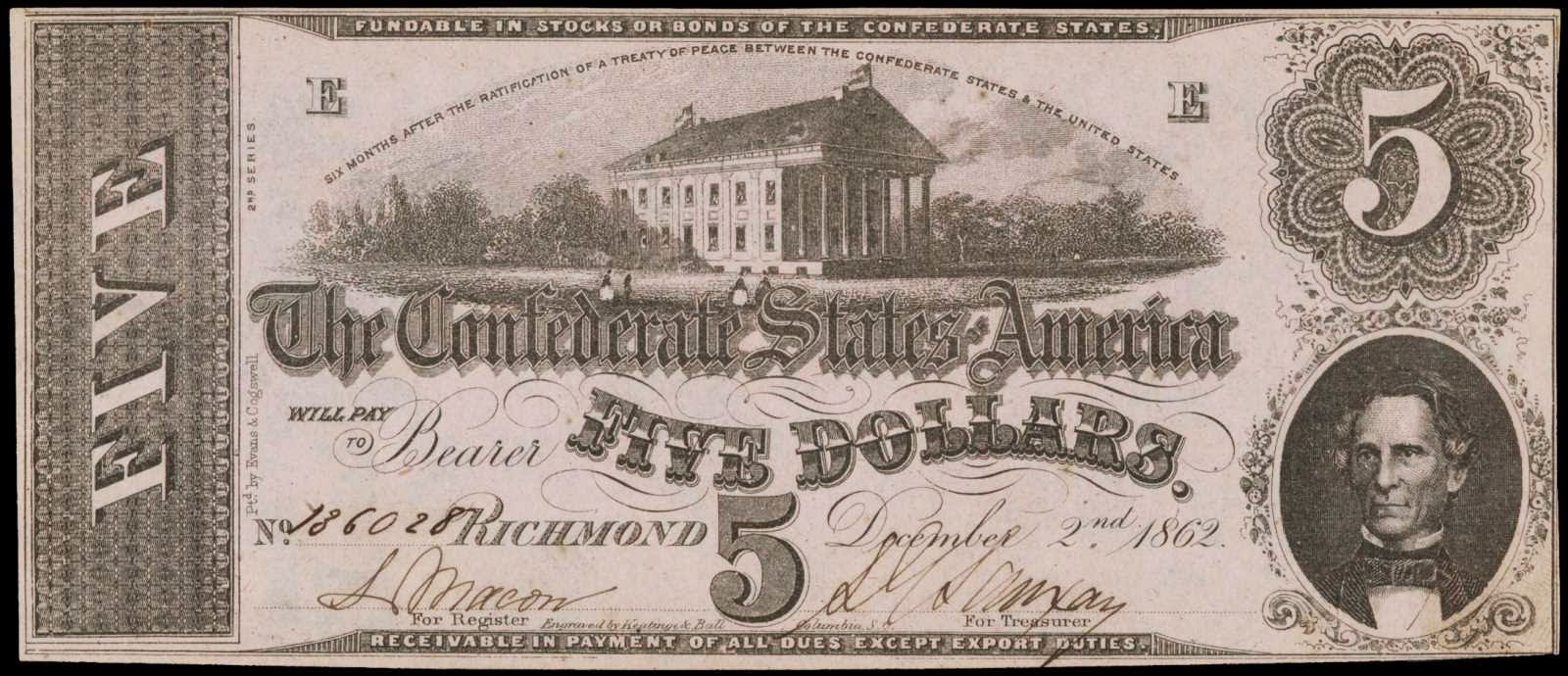 5 Dollar Bill Note Civil War Confederate States Currency 1862