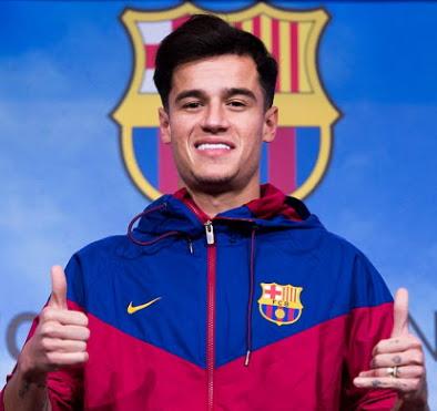 coutinho arrive barcelona spain