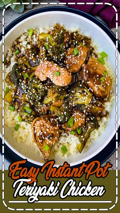 Easy Instant Pot Teriyaki Chicken is a quick, simple, Asian pressure cooker recipe that uses either chicken breasts or thighs, soy sauce, and homemade teriyaki sauce. You can use store bought bottled sauce if you wish. Pair this Chinese stir fry with broccoli, cauliflower rice, or brown rice to create healthy meal prep bowls! #InstantPot #InstantPotTeriyakiChicken