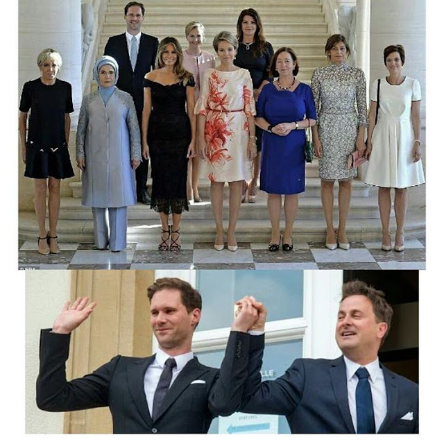 Husband of Luxembourg's gay Prime minister joins wives of other NATO leaders for a photo op in Brussel