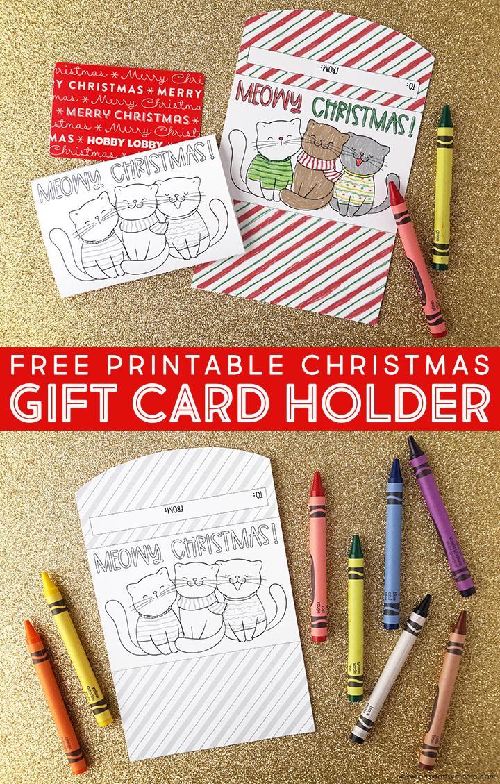 """Free Printable """"Meowy Christmas"""" Gift Card Holder"""