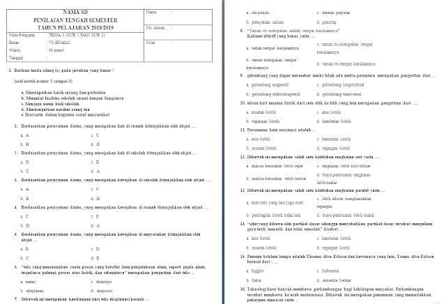 Soal UTS Kelas 6 Tema 3 Subtema 1-2