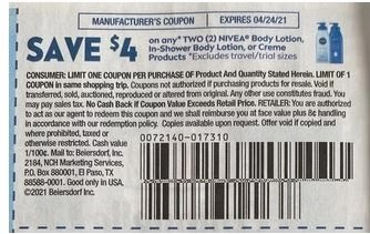 """$4.00/2 Nivea Lotion Coupon from """"SMARTSOURCE"""" insert week of4/11/21.*"""