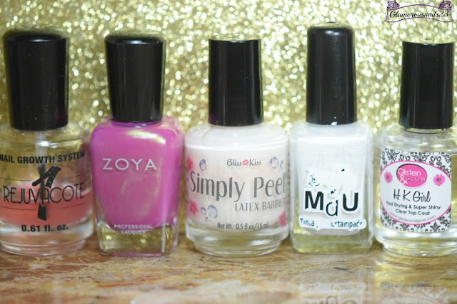 Duri Rejuvacote, Zoya Reece, Bliss Kiss Simply Peel Latex Barrier, Mundo De Unas White, Glisten & Glow HK Girl Fast Drying Top Coat