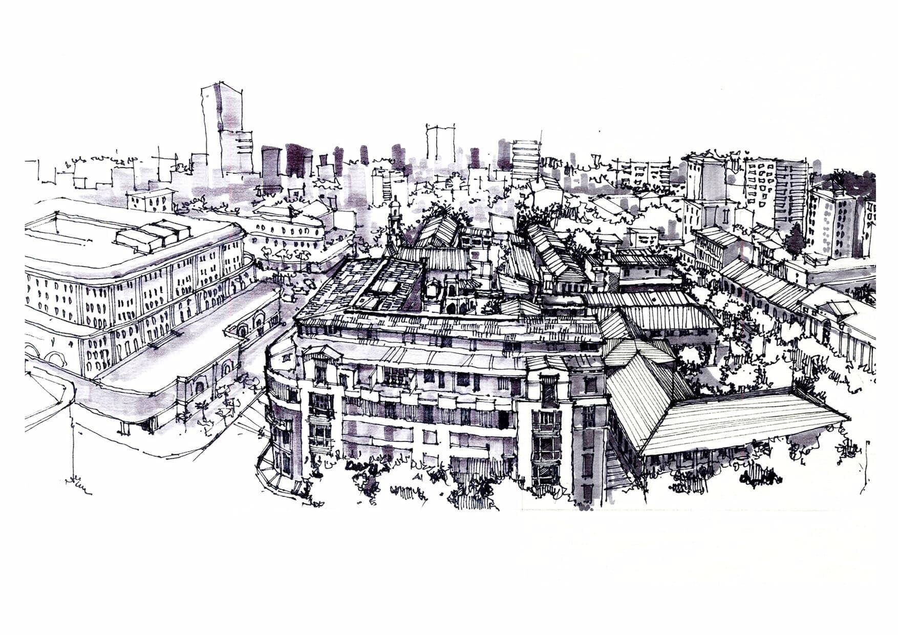 ký họa của chàng sinh viên kiến trúc