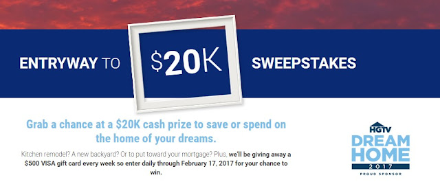 Realtor.com wants you to have a chance to win a $20,000 CASH PRIZE to save or spend on the house of your dreams, remodeling your home or whatever you choose! Weekly winners will get $500 prizes, too.
