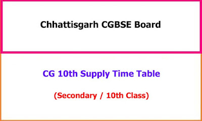 CGBSE 10th Class Supplementary Time Table