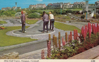 Postcard of the Mini-Golf course in Newquay, Cornwall (A1BB). Harvey Barton Viewcard. Postally unused
