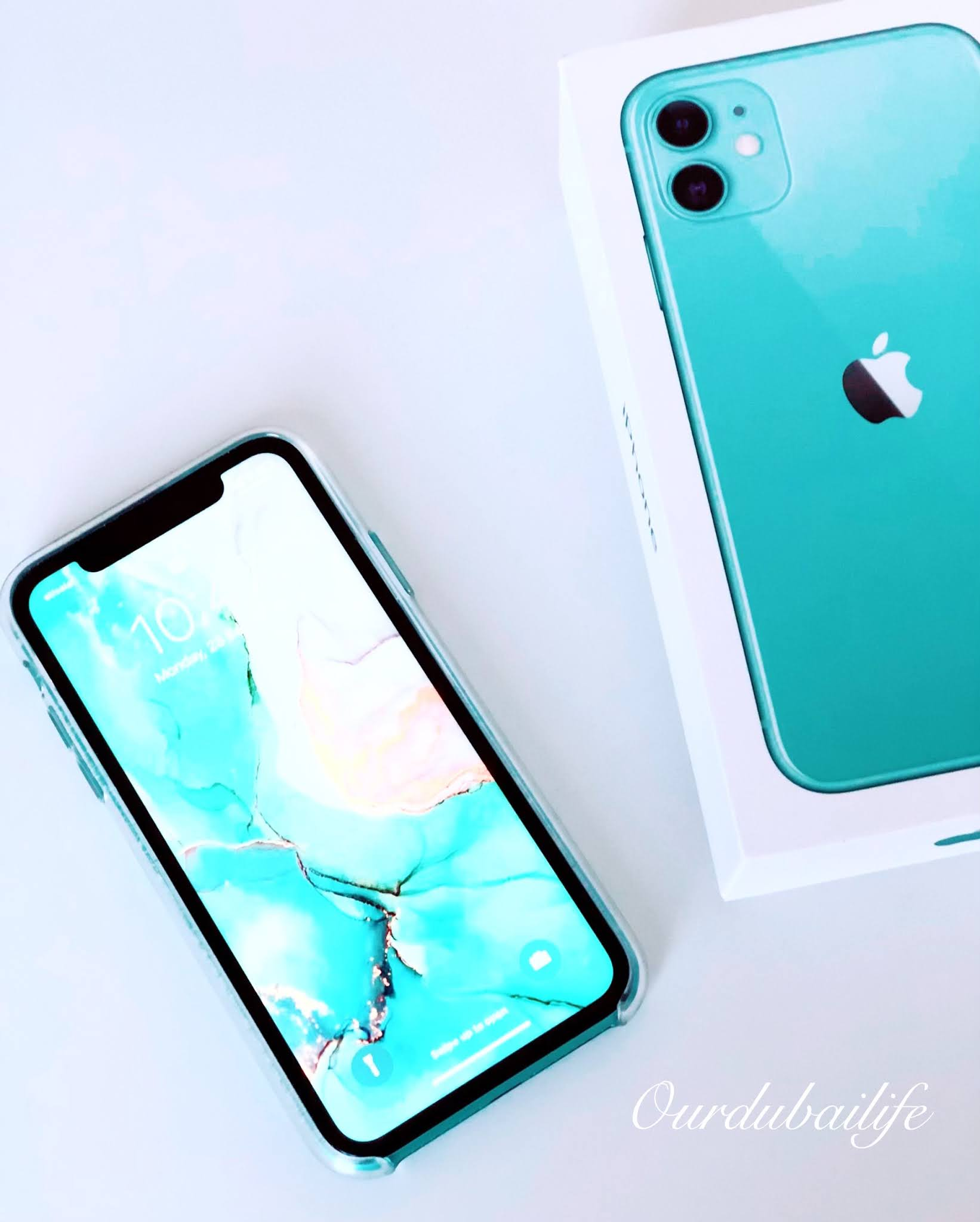 Mint Candy Green Iphone 11 pastel flatlay