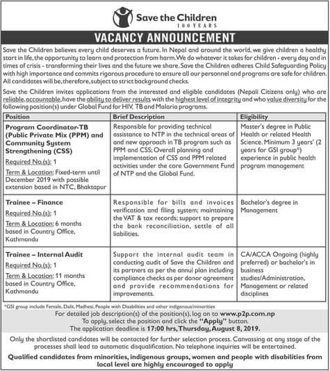 Vacancy at Save the Children for various positions