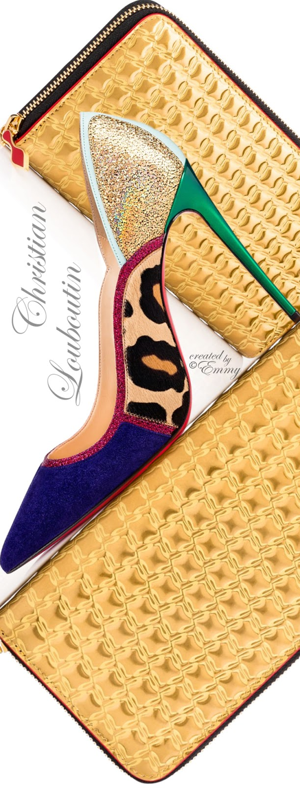 Brilliant Luxury ♦ Christian Louboutin Serianina Veau Velours-Pony & Panettone Zipped Continental Wallet
