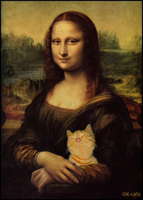 CAT-nipulation • Double Smile Mona Lisa and her cat Lisa are happy together