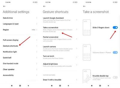 Tampilan menu pengaturan screenshoot 3 jari