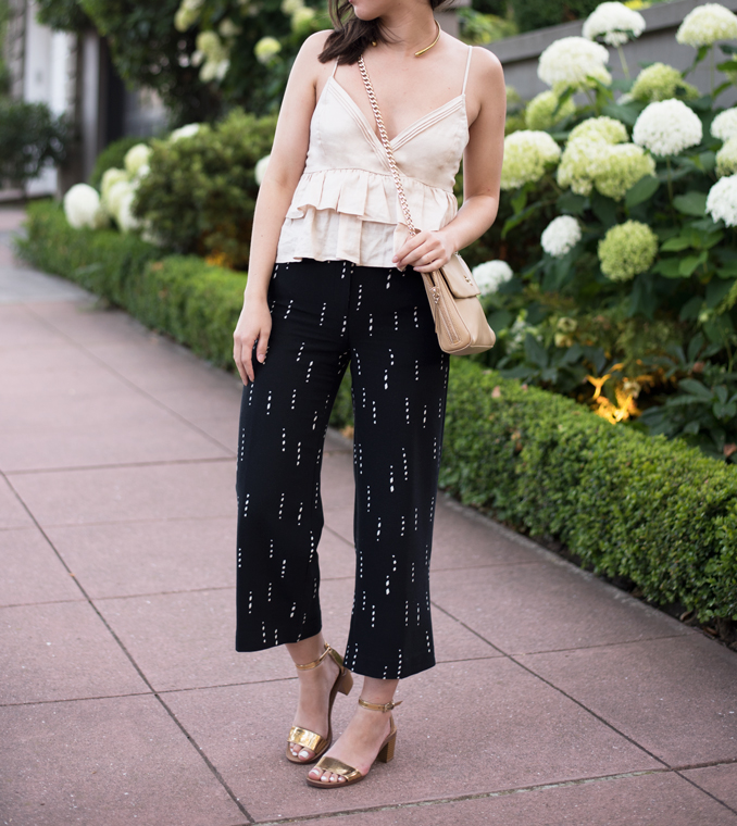 ReadyTwoWear: Ruffle top and wide leg crop pants
