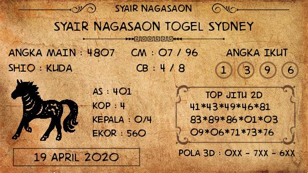 Prediksi Sidney 19 April 2020 - Syair Nagasaon Sydney