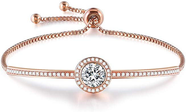 Rose / White Gold Adjustable Crystal Bangle Bracelet  60%off