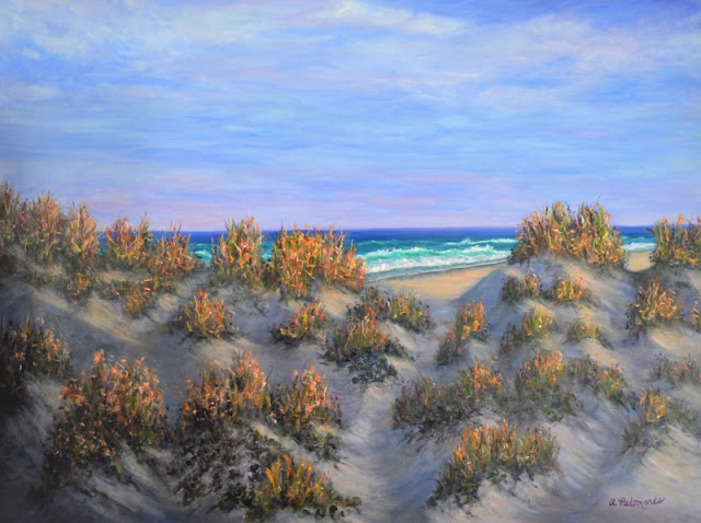 Beach Dunes Coastal Painting with Golden Sea Grass