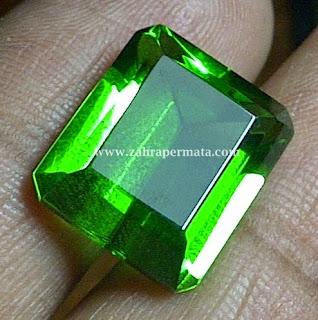 Batu Permata Green Tektite + Memo - ZP 258
