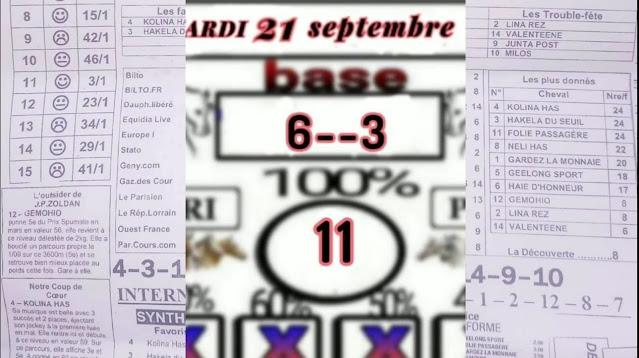 programme quinté+ quinté Mardi 21/09/2021