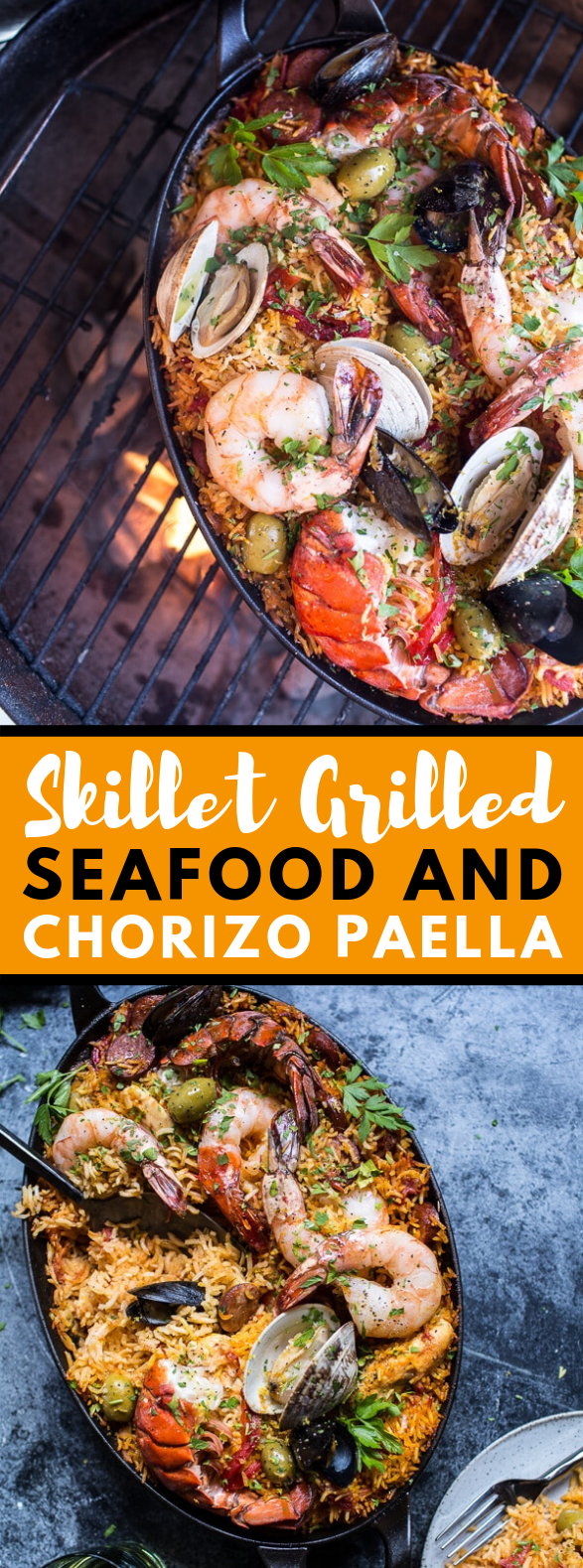 Skillet Grilled Seafood and Chorizo Paella #dinner #food