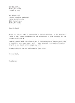 Job Rejection Letter Sample