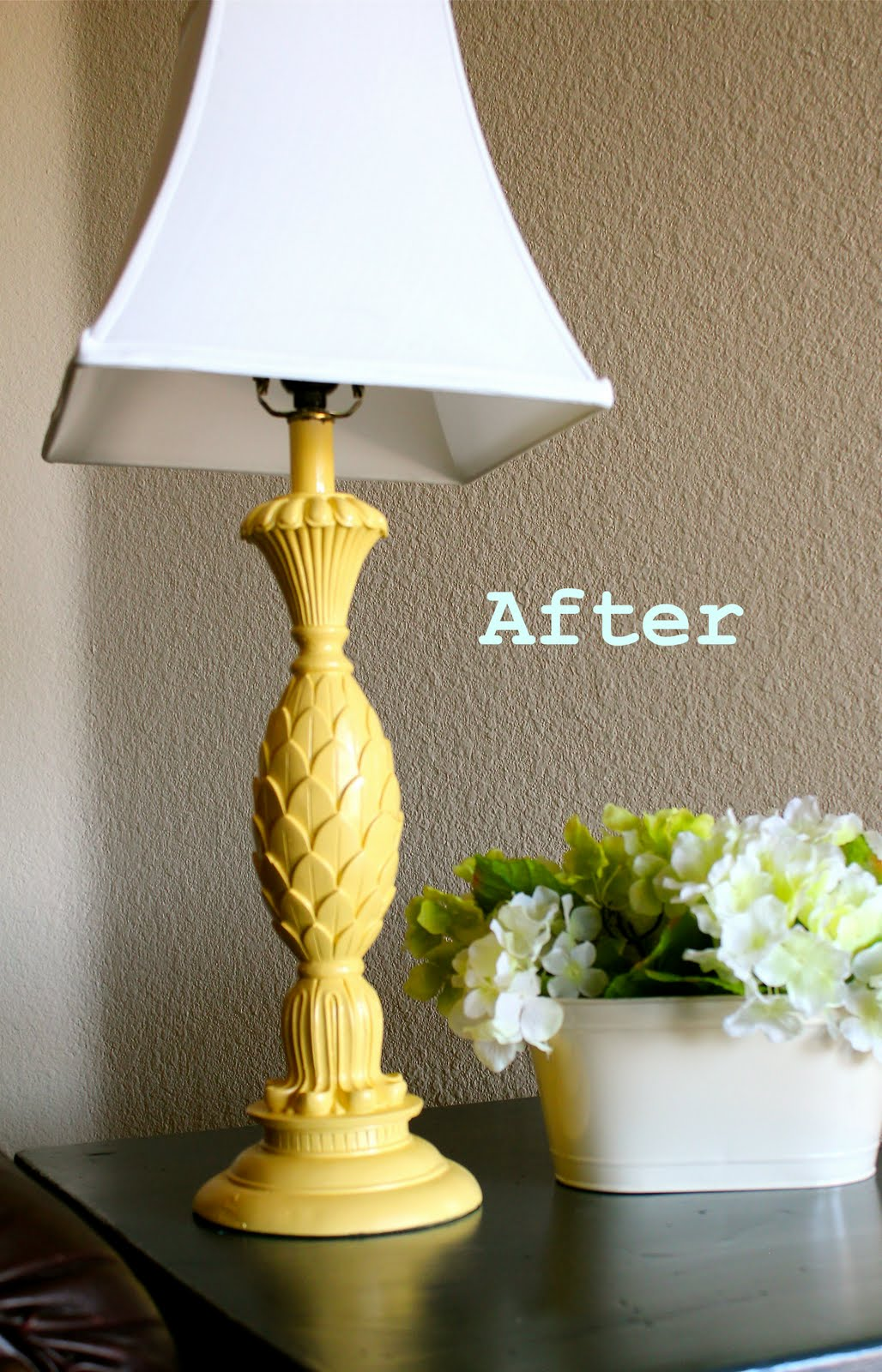 Remodelaholic Yellow Spray Painted Lamp Makover