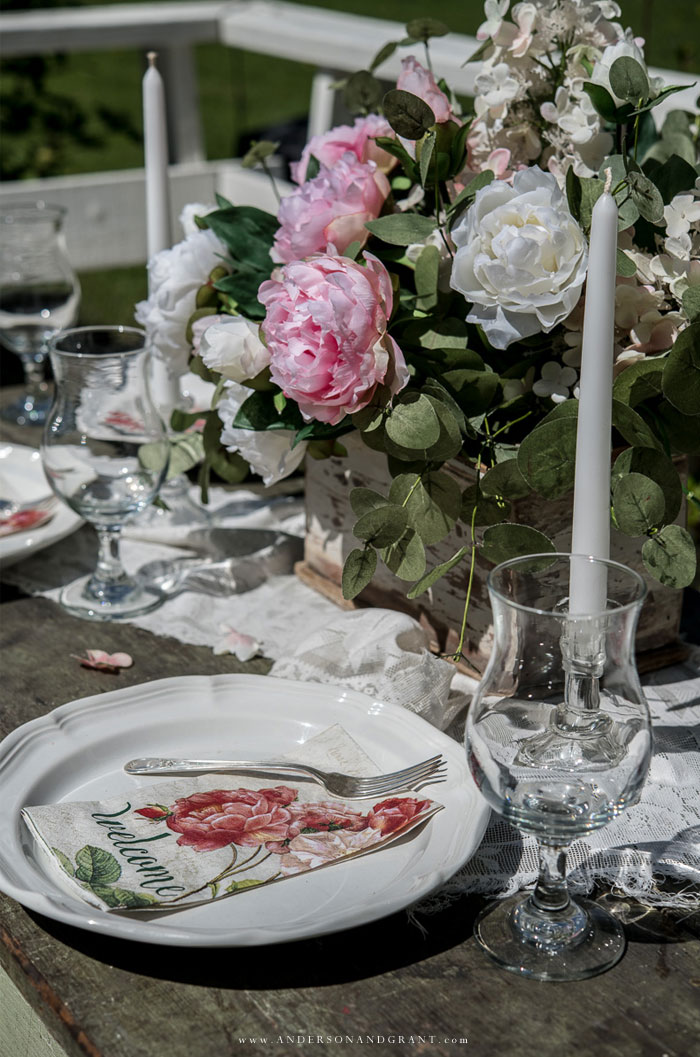 Simple tablescape for summer with peony flowers.