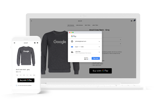 Google Pay checkout screen