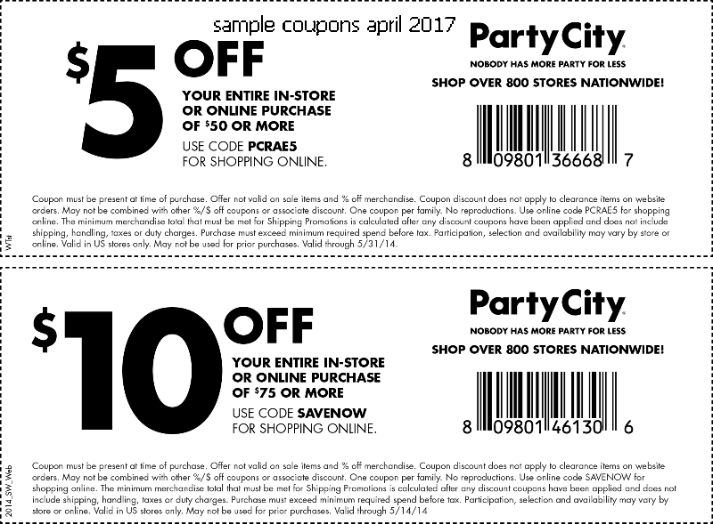 Party city printable coupons nov 2018