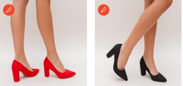 Pantofi eleganti din piele eco intoarsa negri, rosii, cu toc gros de ocazii