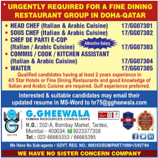 Restaurant jobs for Indians in Doha Qatar