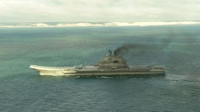 A Russian warship sailed past the White Cliffs of Dover on its way to the Mediterranean last year