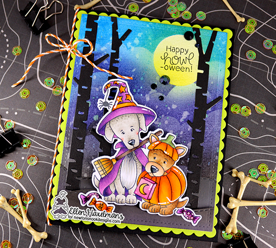 Dogs in Costumes Halloween Card by Ellen Haxelmans | Happy Howl-oween Stamp Set, Clouds Stencil  and Forest Scene Builder Die Set by Newton's Nook Designs #newtonsnook #handmade