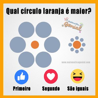 Ilusão de ótica - Qual círculo laranja é maior?
