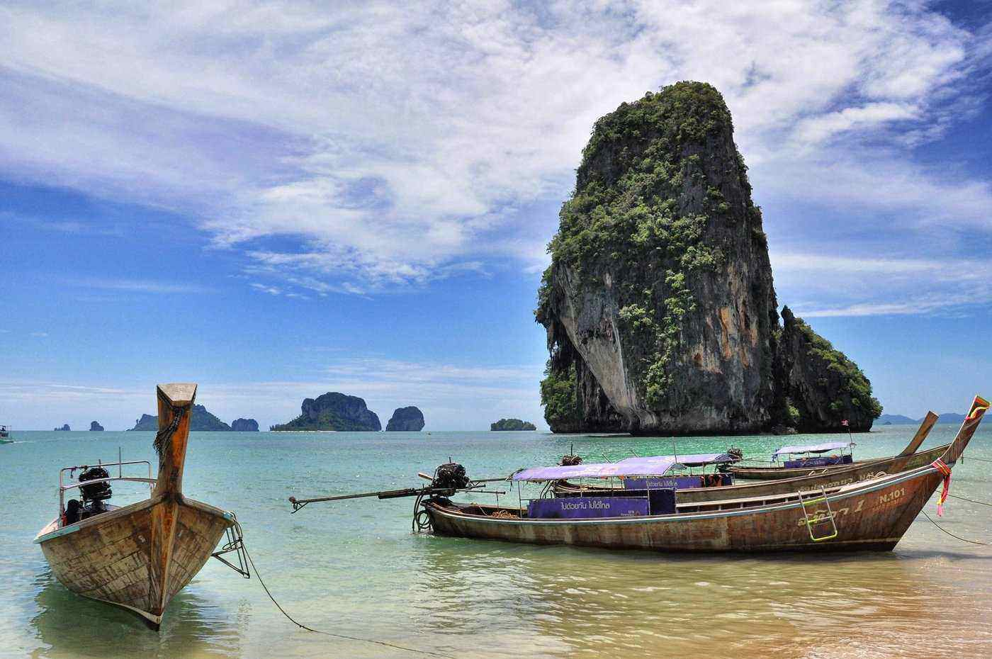 boats at phra nang beach - awesome things to see and do in Krabi, Thailand