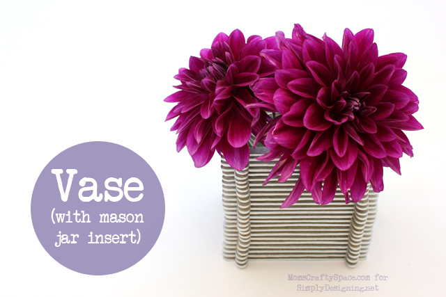 Vase with Popsicle Sticks - this is a really fun kid craft that has so many uses!  #kidcraft #kidactivity #summer