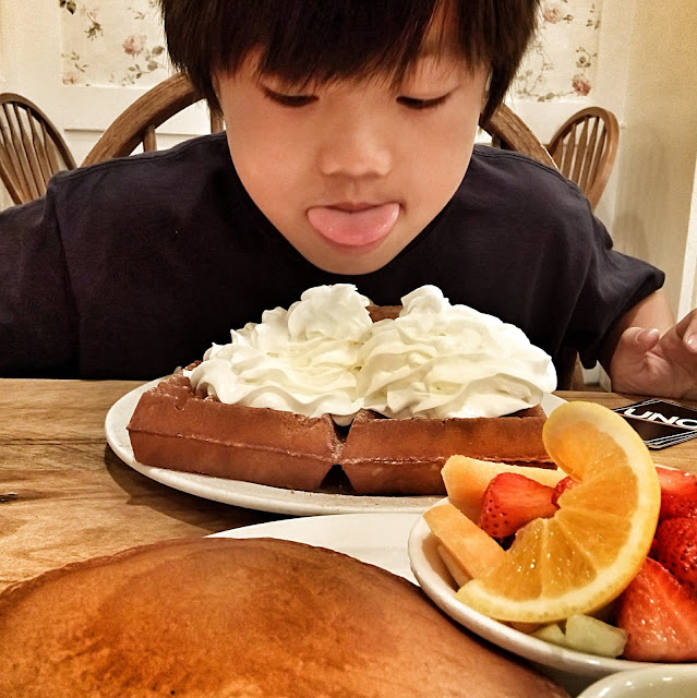breakfast for lunch at waffles & more with my son