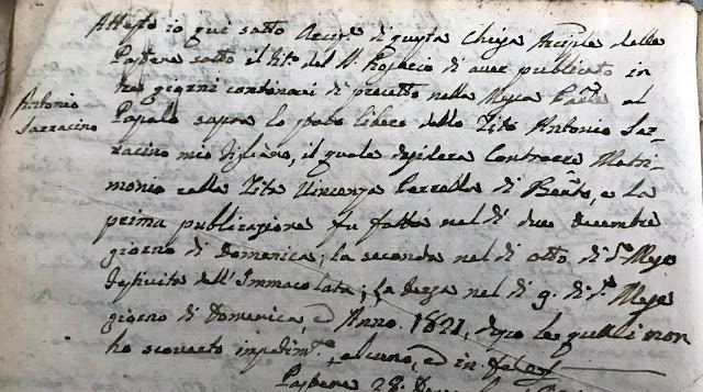 An 1821 marriage record I hired a professional genealogist to find.