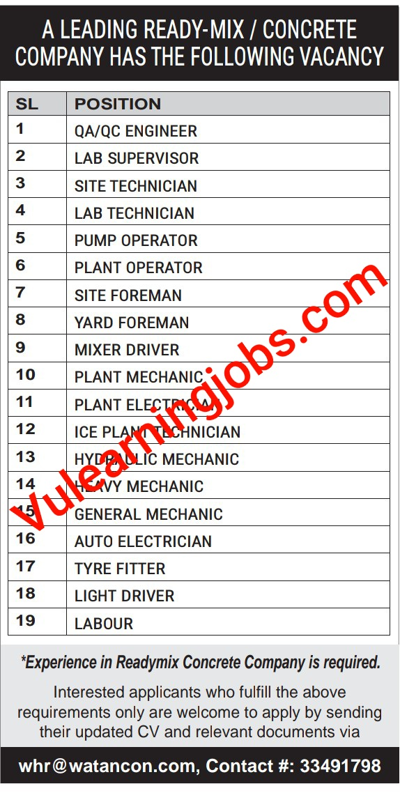 A leading Concrete Company Jobs 2020 In Qatar For Engineer, Supervisor, Technician, Foreman & Driver Latest