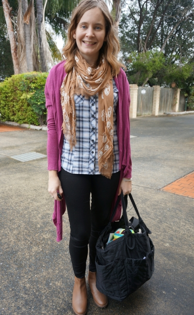 Purple cardigan black skinny jeans tan skull scarf ankle boots plaid shirt baby bag