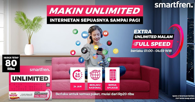 Baru, Paket Unlimited Internet Aktif di Malam Hari Dari Smartfren