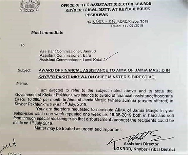 AWARD OF FINANCIAL ASSISTANCE TO AIMA OF JAMIA MASJID