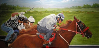 Oil painting of race horses by artist, Liz McDevitt