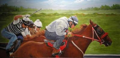 Oil painting of race horses by artist, Liz McDevitt