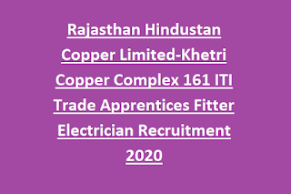 Rajasthan Hindustan Copper Limited-Khetri Copper Complex 161 ITI Trade Apprentices Fitter Electrician Recruitment 2020