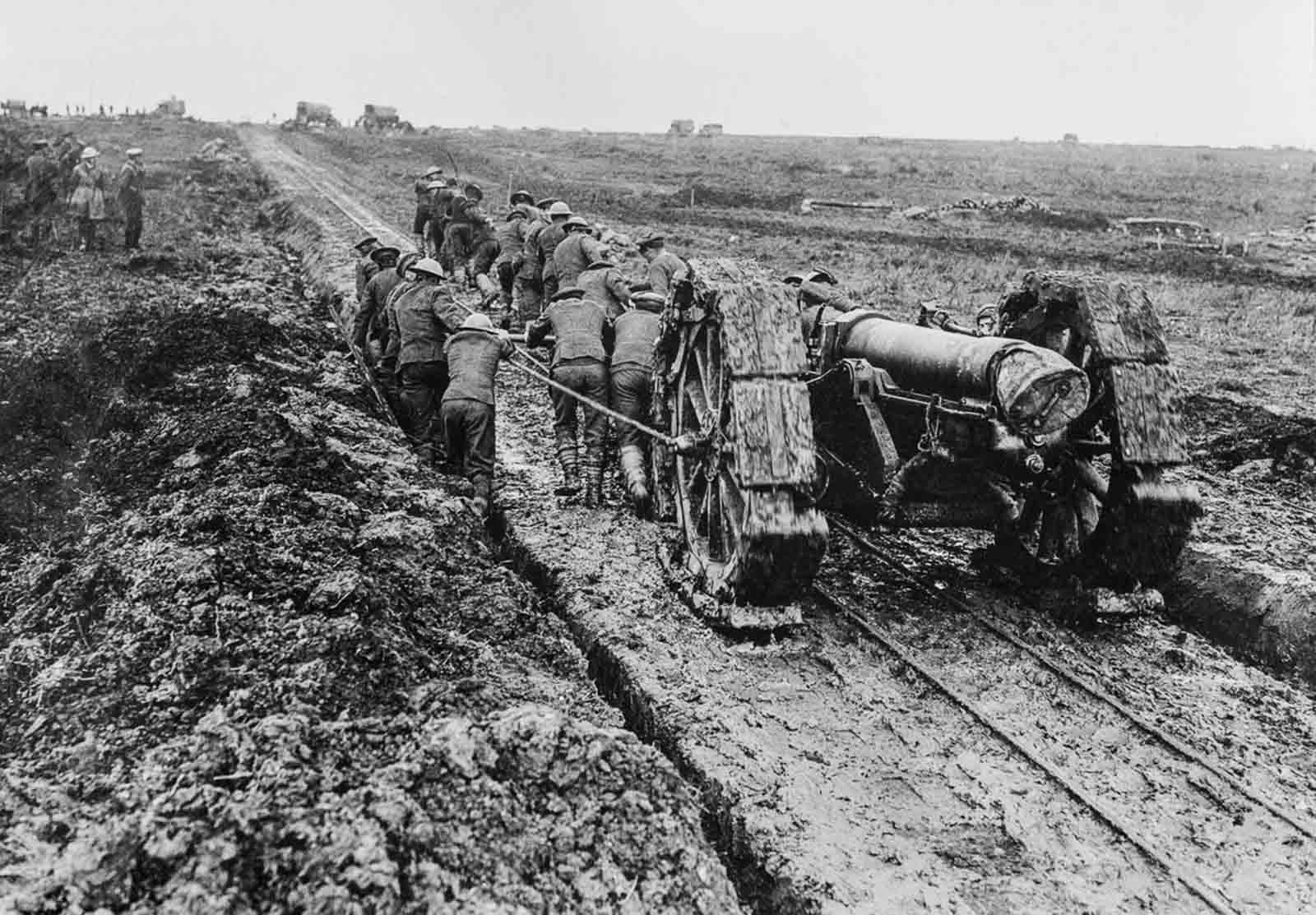 A 6-inch howitzer is hauled through the mud near Pozieres. September, 1916.