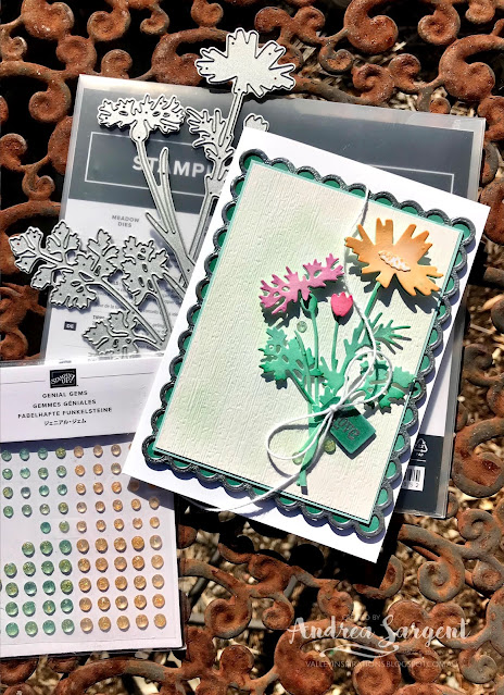 A personally designed and created card featuring Shaded Spruce and the Quiet Meadows bundle by Stampin' Up!, made by Andrea Sargent, Australia.