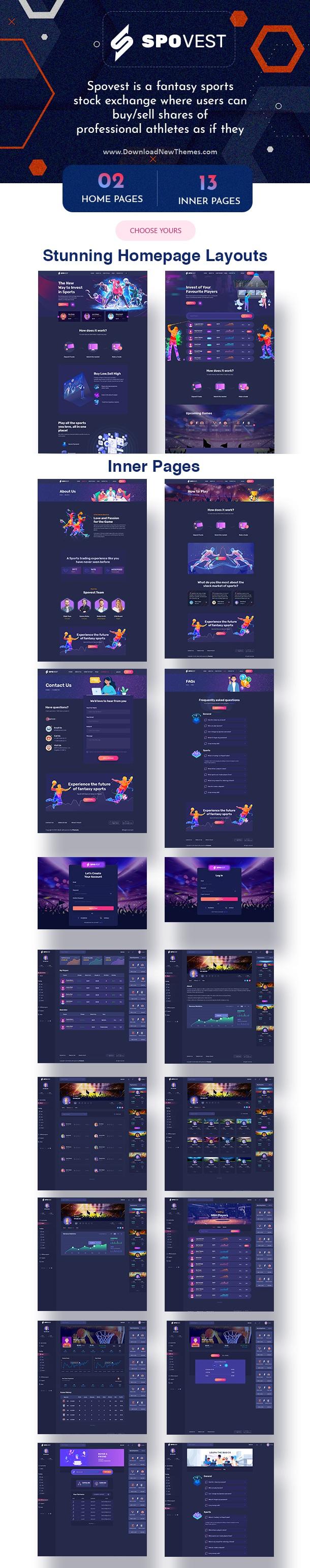 Spovest - Fantasy Sports Stock Exchange HTML Template