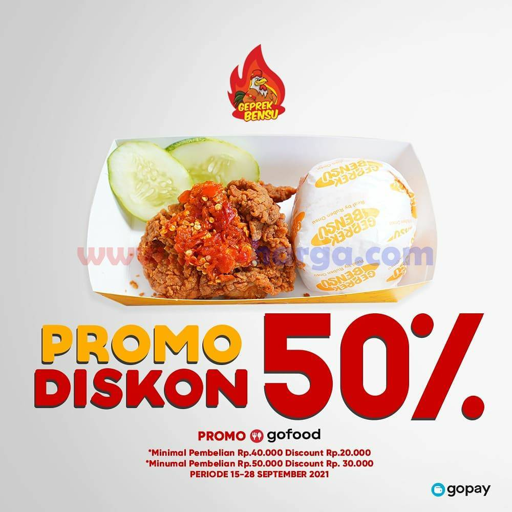 Geprek Bensu Promo Diskon 50% via GOFOOD
